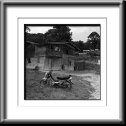 hill tribe village, motorcycle, Laos