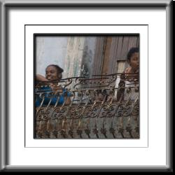 children, girls, Cuba, Havana, balcony